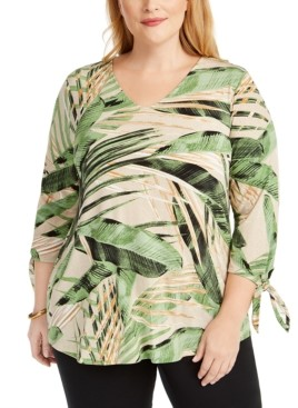 Alfani Plus Size Tropical-Print Tie-Sleeve Top, Created for Macy's