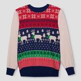 Well Worn Men's Ugly Holiday Reindeer Fairisle Sweater - Well Worn Navy