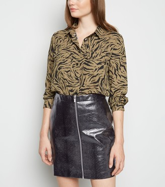 New Look Faux Croc Zip Mini Skirt