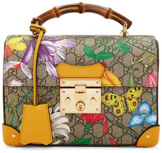 Gucci Mutlicolor Small GG Flora Bamboo Padlock Bag