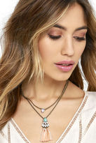LuLu*s Tantalizing Tassel Gold and White Layered Necklace
