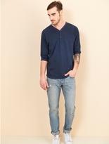 Alternative Raw Edge Smoked Wash Organic Pima Cotton 3/4 Sleeve Henley Shirt
