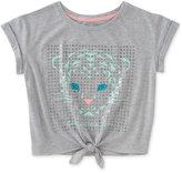 Calvin Klein Cat-Print Tie-Front T-Shirt, Big Girls (7-16)