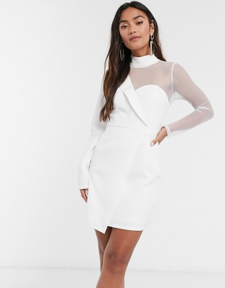 In The Style x Saffron Barker asymmetric mesh tailored mini dress in white