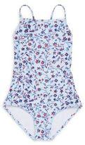 Oscar de la Renta Girl's Floral-Print Halter Swimsuit