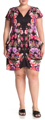 City Chic Chelsea Floral Zip Front Pocket Tunic Dress (Plus Size)