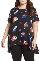 Vince Camuto Plus Size Women's Travelling Blooms High/low Top