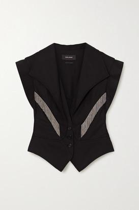 Isabel Marant Udalia Fringed Paneled Lyocell And Cotton-blend Vest - Black