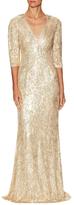 Jenny Packham Silk Sequin Floor Length Gown