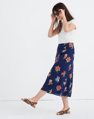 Madewell Silk Atrium Midi Skirt in Bird of Paradise