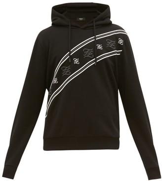 Fendi Karligraphy-embroidered Cotton Hooded Sweatshirt - Black