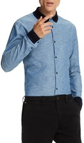 Scotch & Soda Chambray Contrast Trim Slim Fit Button-Down Shirt