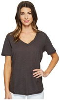 Heather Cotton Gauze V-Neck Tee Women's T Shirt