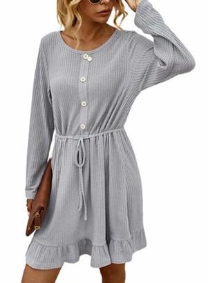 CORAFRITZ Women's Solid Color Mini Dress Cren Neck Long Sleeve Tie Waist Decorative Buttons Fashion Plain Dress Gray