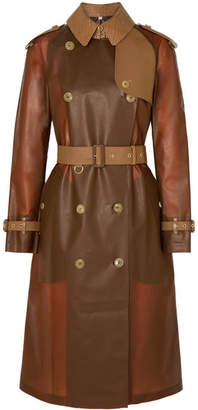 Burberry Croc-effect Leather And Cotton-trimmed Pvc Trench Coat - Brown