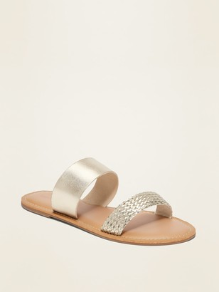 Old Navy Faux-Leather Variegated Double-Strap Slide Sandals for Women