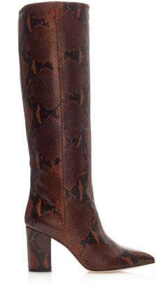 Paris Texas Python-Printed High Heel Knee Boots