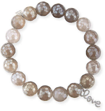 Sydney Evan 10mm Faceted Gray Chalcedony Bead Bracelet with 14k Gold Love Charm