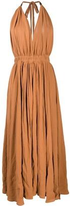 CARAVANA Long Halterneck Cotton-Blend Dress