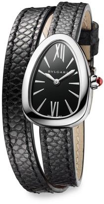 Bvlgari Serpenti Stainless Steel & Black Karung Strap Watch