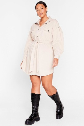 Nasty Gal Womens Get On Cord-uroy Plus Belted Shirt Dress - Beige - 16, Beige