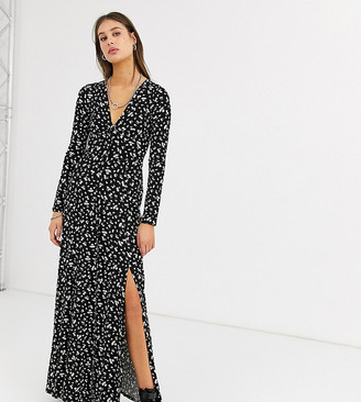 Asos DESIGN Tall long sleeve button through maxi tea dress with splits in ditsy print