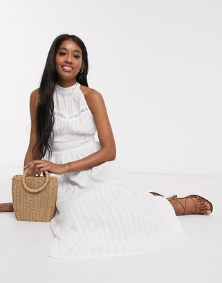 ASOS DESIGN halter neck midi dress with lace inserts in white