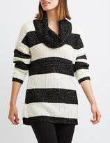 Charlotte Russe Striped Cowl Neck Tunic Sweater
