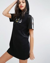 Fila Relaxed Hooded T-Shirt Dress With Tape Detail
