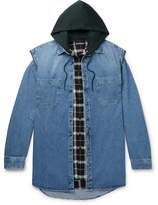 Balenciaga Oversized Denim Gilet With Detachable Checked Hooded Shirt