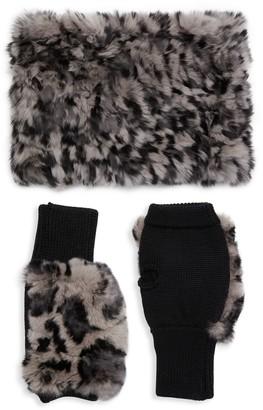 Jocelyn 2-Piece Rabbit Fur & Wool-Blend Neck Wrap & Fingerless Mittens Set