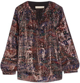 Vanessa Bruno Floral-print Metallic Silk-chiffon Blouse - Purple