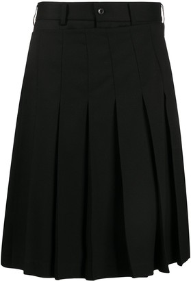 Black Comme Des Garçons knife-pleated A-line skirt