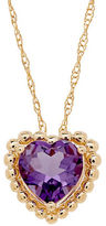 Lord & Taylor Amethyst and 14K Yellow Gold Beaded Heart Pendant Necklace