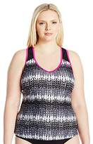 ZeroXposur Zero Xposur Women's Plus Size Knit Mesh Action Swimsuit Tankini Top
