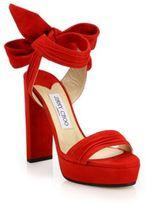 Jimmy Choo Kaytrin 120 Suede Ankle-Tie Platform Sandals