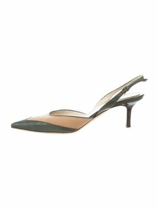 Gucci Leather Slingback Pumps Green
