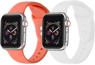 Posh Tech Living Coral/White Apple Watch Replacement Band - Set of 2 - 42mm/44mm