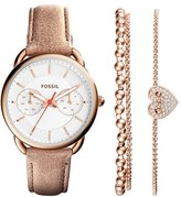 Fossil Women's 'Tailor' Multifunction Leather Strap Watch & Bracelet Box Set, 35Mm
