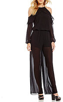 MICHAEL Michael Kors Halter Neck Ruffle Cold Shoulder Jumpsuit