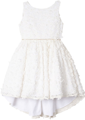 Badgley Mischka Kid's Flower Lace High-Low Dress, Size 7-16