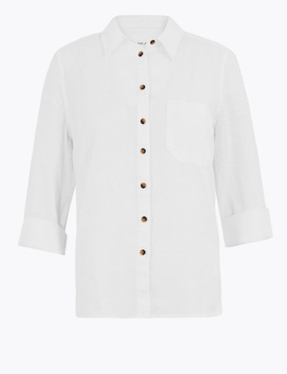 Marks and Spencer PETITE Pure Linen 3/4 Sleeve Shirt