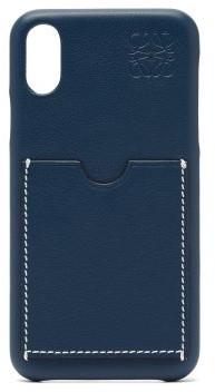 Loewe Anagram-debossed Leather Iphone X Phone Case - Womens - Navy