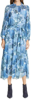 LoveShackFancy Althea Long Sleeve Silk Maxi Dress