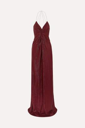 Mason by Michelle Mason Twist-front Crystal-embellished Lurex Gown - Burgundy