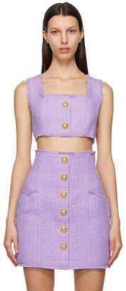 Balmain Purple Tweed Cropped Tank Top