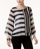 Alfani Striped Angel-Sleeve Top, Created for Macy's