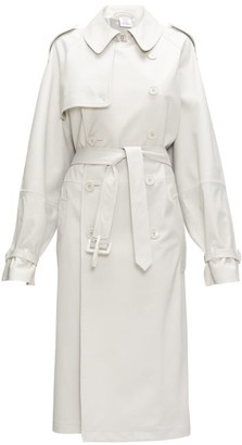 Vetements Double-breasted Leather Trench Coat - Womens - Light Grey
