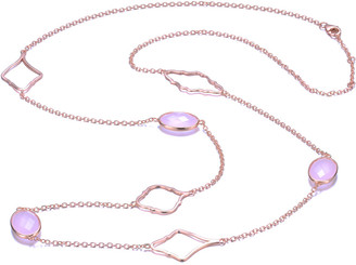Genevive 14K Rose Gold Over Silver Cz 34In Station Necklace