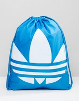 adidas Drawstring Backpack In Blue AJ8987